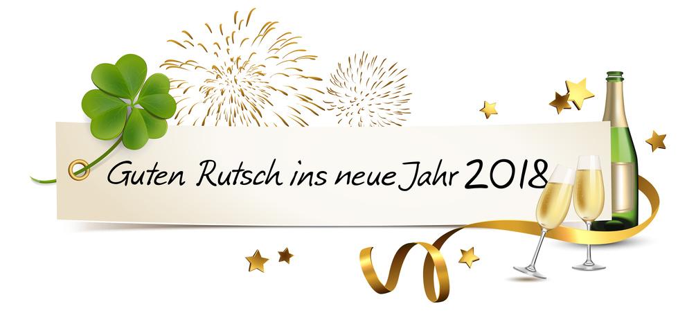 Silvester Banner mit Sekt, Kleeblatt und Feuerwerk - Guten Rutsch ins neue Jahr 2018
